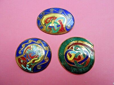Lot of Tara Ware Celtic Enamel Brooches--Kitten Rescue