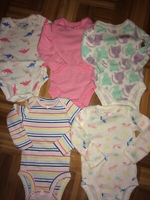 Carters set of 5 long sleeve onsies size newborn excellent condition