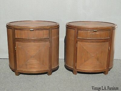 Pair of Vintage McGuire Furniture Brown Oval Bamboo Reed Nightstands