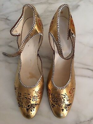 1920's Original Gold Leather Shoes