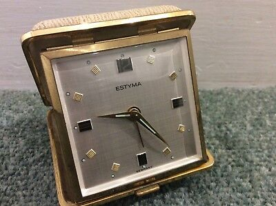 Vintage Estyma Wind Up Travel Alarm Clock  Made in Germany