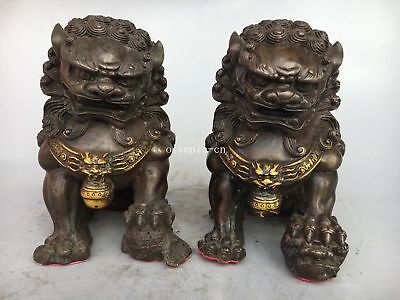 Pair 6'' Copper gild home fengshui decor exorcise evil spirits fu foo dogs lion