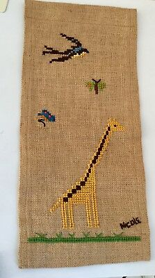 VINTAGE SOUTHWEST/MISSION EMBROIDERED CREWEL WORK PANEL-on burlap