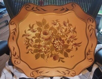 Vtg  Tole Serving Tray Pilgrim Art  hand painted white ROSES #104