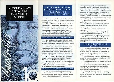 RBA brochure on the first issue $10 polymer note 1993