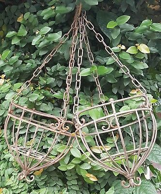 Pair Vintage Hanging Plant Baskets Solid Wrought Iron Chains French Fleur de Lis