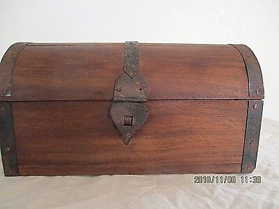 Vintage Treasure Chest, Hand Made, Great Patina, Signed On Bottom