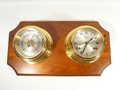 HERMLE Ships Clock & Barometer  Mounted on Wooden Plaque