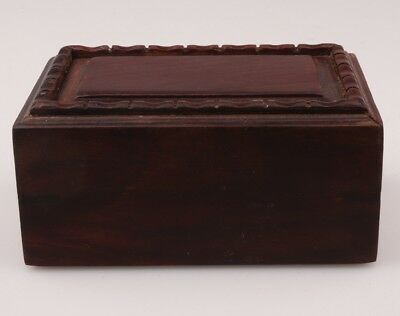 Vintage Chinese Wood Jewelry Box Rings Decorated Old Collection