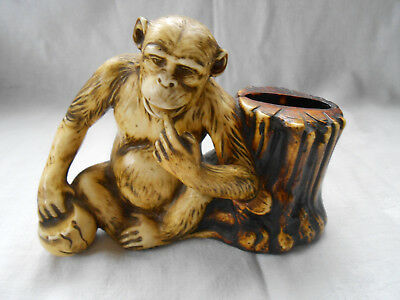 Vintage Celluloid Plastic Monkey Figurine Smoking Pipe Stand Holder