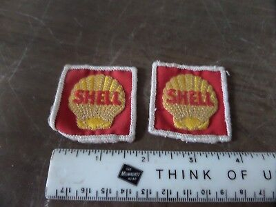 """2 Vintage Mini SHELL OIL Embroidered Sew-On Uniform-Jacket Patch 2"""" x 2"""""""
