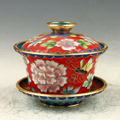 Chinese Exquisite Cloisonne Hand Carved Flower Cup