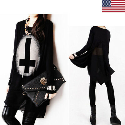 Gothic Punk Women Pullover Long Sleeve Black Cross Print Loose Shirt Tops Blouse
