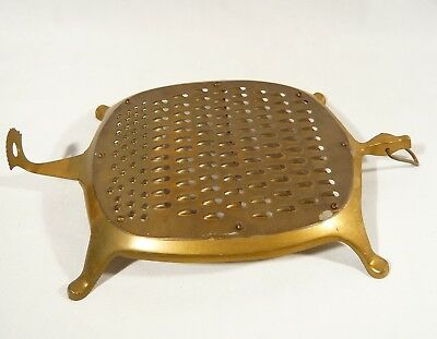 Unusual  Brass Footed hanging TURTLE GRATER 11 inch Food Shredder KITCHEN Wall