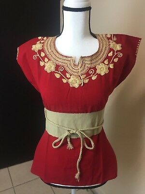 Authentic Mexican Ethnic Embroidered Hand Made Blouse Small Medium
