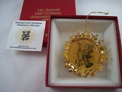 Hummel Gold Christmas Ornament Collection 80's Double Sided Apple Tree Boy #1