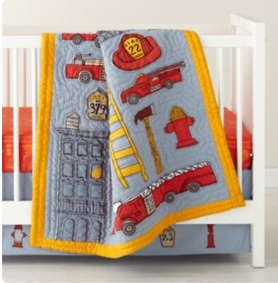 The Land Of Nod NWOT Baby Boys Adorable Blue Red Yellow Firefighter Crib Skirt