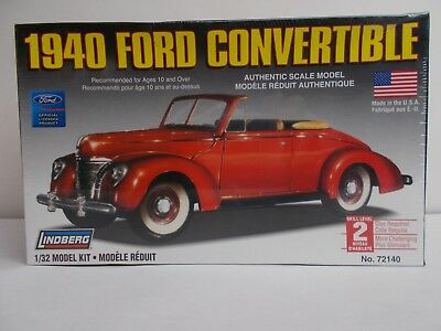 LINDBERG 40 FORD CONVERTIBLE 1/32 PLASTIC SCALE MODEL KIT No. 72140