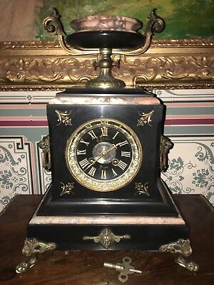 Antique French Polished Rouge Marble & Gold A. Besse. 8 Day Mantle Clock Running
