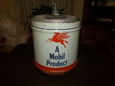 Vintage Empty 5 Gallon Mobil Oil Can Pegasus Gas Station Advertising Collectible