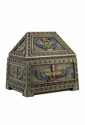 NEW Cold Cast Bronze Home Decor Egyptian Heart Scarab and Isis Trinket Box