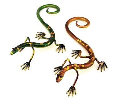 Set of 2 Decorative 12 Inch Metallic Geckos in Multiple Colors