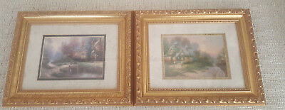 "Thomas Kinkade Small Pair of Framed Canvas Prints 10"" x 8"" Pre-owned"
