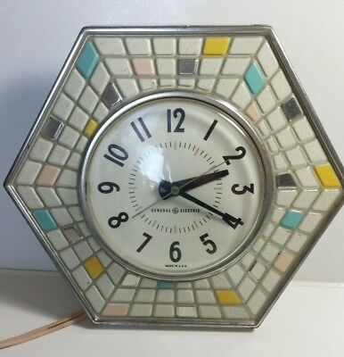 Vintage GE Hexagon Shaped Wall Clock With Faux Tiles Electric