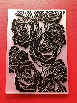 REDUCED• ROSES IN BLOOM Embossing Folder Sizzix or Cuttlebug