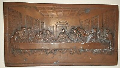 Antique Vintage Jesus Last Supper Cast Bronze Relief Plaque Table Top - Nr