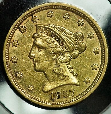 1857 Gold Liberty Head 2 1/2 Dollar $2.5 Quarter Eagle Coin