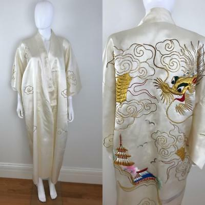 Vintage Cream Satin Embroidered KIMONO Gold Dragon GYPSY Robe S M L