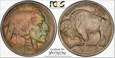 1913-P AU58 Type 1 Buffalo Nickel 5c, PCGS Graded, Rainbow Toned!