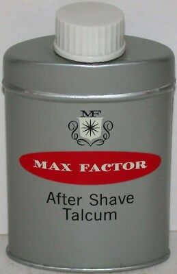 Vintage tin MAX FACTOR After Shave Talcum small size Hollywood California n-mint