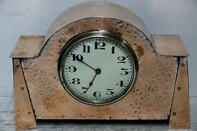 Very Stylish Old Copper Buren Clock Arts & Crafts - Art Nouveau Design - Rare