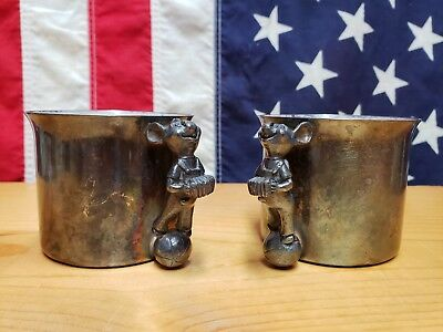 Reed Barton Silver Plated Handle Baby Cup 865 Accordion Music Vintage Mouse Ball