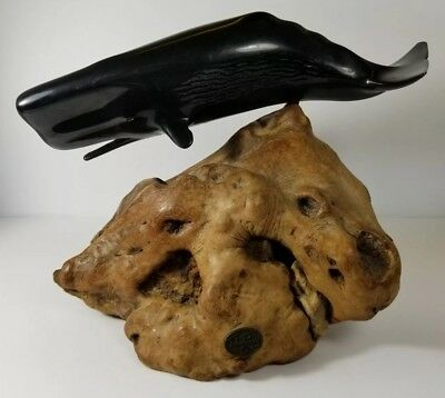 Vintage Large John Perry Rare Black Ebonite Sperm Whale Figure Burled Wood Base
