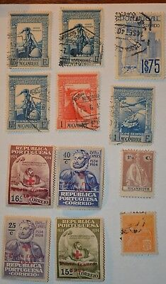 Very Rare Antique/Vintage Lot Of 12+ Portuguese Stamps Early 1900's - No Reserve