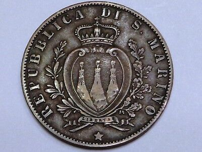 San Marino 1894 5 Centesimi Coat of Arms with 3 Towers Forts Castles Copper Nice
