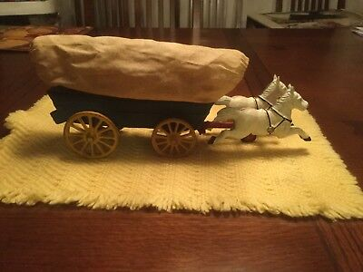 Vintage Cast Iron Chuck/conestoga Wagon Carriage With Two Horses And Wagon Cover