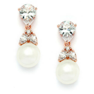 Mariell Rose Gold Plated Pear-Shape CZ Clip On Wedding Earrings with Ivory Pearl