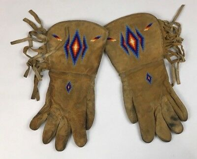 Antique Western Native American Indian Rawhide Leather Beaded Gauntlet Gloves