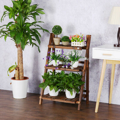 X3-Tier Folding Wooden Flower Stand Plant Stand Display Shelf  Indoors Outdoors