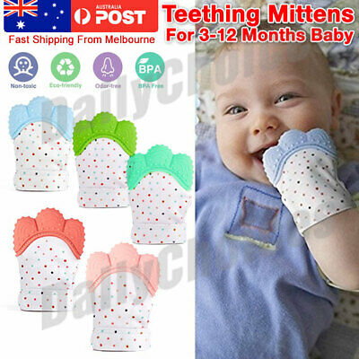 Baby Teething Mitten Glove Silicone Nursing Mitt Teether Candy Wrapper Sound EE