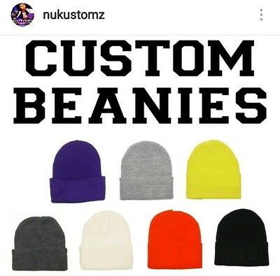 Custom Embroidery - Embroidered Name or Logo - Beanie Knit Cap w Cuff -  BLACK 79d807e80529