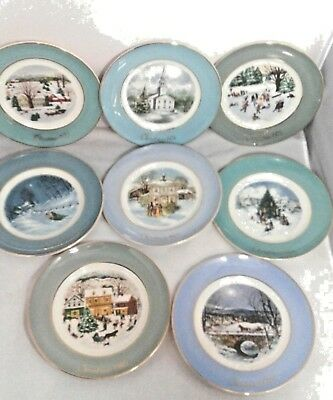 Avon Christmas Plate Series Set of 8 Collector Plates 1973-1980