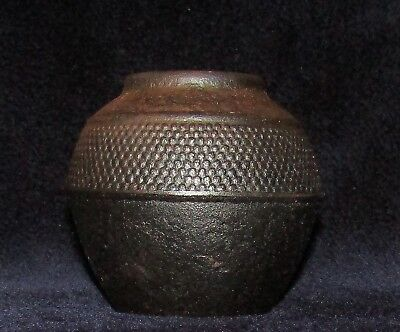 "SMALL VINTAGE JAPANESE CAST IRON VASE POT 3 1/2"" T x 3 1/2"" W Signed?"