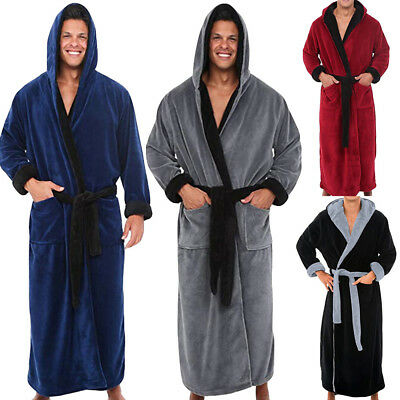 Men Winter Lengthened Plush Shawl Bathrobe Home Clothes Long Sleeved Robe Coat 9