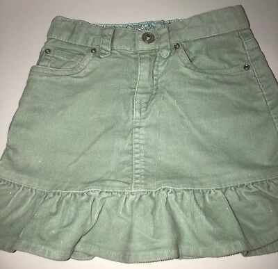 298786f8f GAP Kids Girls Green Glitter Cord Skirt Size 4 Ruffle Hem Adjustable Waist