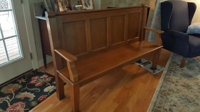 Antique Church/Courthouse Bench Vintage Oak Wood Solid Old Bench Seat